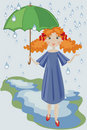 Girl with umbrella. Stock Photography