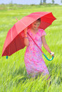 Girl with umbrella Stock Photo