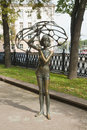 Girl with an umbrella in minsk belarus funny sculpture capital of Royalty Free Stock Photography
