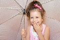 Girl with umbrella portrait of smiling Stock Photography