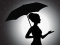 Girl with umbrella silhouette an illustration of a shading effect Royalty Free Stock Photography