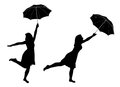 Girl with umbrella silhouettes of Royalty Free Stock Photography