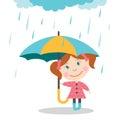 Girl with umbrella standing under the rain.