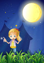 A girl under the bright fullmoon illustration of Stock Images