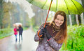 Girl under Rain Stock Photography