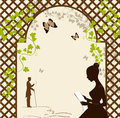 Girl under the romantic arbor illustration of Royalty Free Stock Image