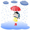 Girl under an umbrella and rain vector illustration of little who stands in pool looking at Royalty Free Stock Photos