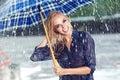 girl under umbrella watching the rain Royalty Free Stock Photo