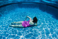 Girl Underwater Pose Stock Image
