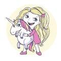 Girl and unicorn vector illustration cartoon magic Royalty Free Stock Photo