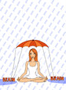 Girl using her brain against the pain sitting in lotus position under umbrella illustration of a ginger on white with typography Royalty Free Stock Photo