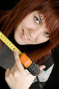 Girl using measuring tape Stock Image