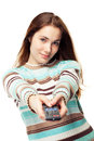 Girl using remote control Stock Photo