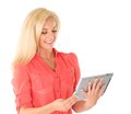 Girl using tablet computer Royalty Free Stock Images