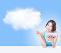 Girl using tablet pc and finger point cloud Stock Photos