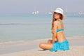 Girl on vacation or holiday in mallorca spain majorca ibiza Stock Image