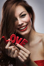Girl on valentines day joyful Royalty Free Stock Images
