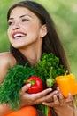 Girl with vegetarian set Stock Photos