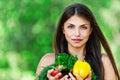 Girl with vegetarian set Royalty Free Stock Photos