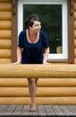 Girl on a veranda Stock Photo
