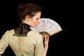 Girl Victorian dress fan back Royalty Free Stock Photo