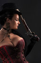 Girl with vintage guns in steampunk style Royalty Free Stock Photo