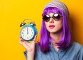 Girl with violet hair in sunglasses Royalty Free Stock Photo