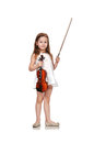 Girl with violin happy beautiful isolated on white background Stock Image