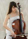 Girl with violoncello Royalty Free Stock Photo
