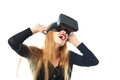 Girl in virtual reality glasses Royalty Free Stock Photo