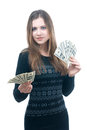 Girl with wad of money in her hands portrait happy young isolated on white Stock Photography