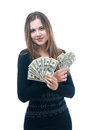 Girl with wad of money in her hands portrait happy young isolated on white Stock Image