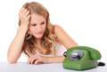 Girl waiting for a call Royalty Free Stock Photo