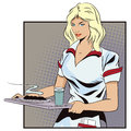 Girl waitress with a tray.