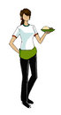 Girl in waitress uniform illustration cartoon on isolated background Royalty Free Stock Images