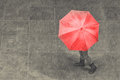 Girl walk with umbrella in rain on pavement artistic conversion Royalty Free Stock Photo