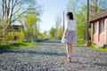 Girl on a walk young beautiful in early spring Royalty Free Stock Images