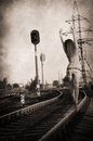 Girl walking alone along rail track artwork in retro style Stock Photography