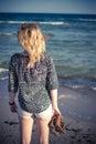 Girl walking at beach Royalty Free Stock Photo