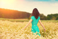 Girl walking on the buckwheat field Royalty Free Stock Photo