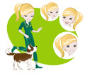 Girl walking with a dog several interchangeable items for illustration on training Stock Image