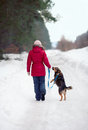 Girl walking with the dog on a snowy road Stock Images