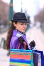 Girl walking down the street beautiful Stock Photos