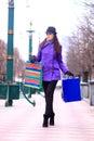 Girl walking down the street beautiful Royalty Free Stock Photos