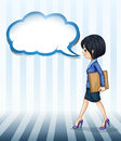A girl walking with an empty callout illustration of on white background Royalty Free Stock Image