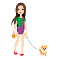 Girl Walking Little Pomeranian Royalty Free Stock Images
