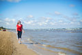 Girl walking near the sea in jurmala latvia Royalty Free Stock Photos