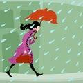 Girl walking in rain
