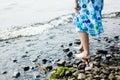 Girl walking in water Royalty Free Stock Photo