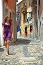 Girl walks portugal street Stock Photos